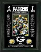 Green Bay Packers Super Bowl XLV Champions 24KT Gold Coin Signature Etched Glass Photo Mint