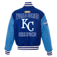 **Kansas City Royals 2015 World Series Champions Wool & Leather Jacket - Royal
