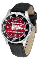 Arkansas Razorbacks Competitor Crimson AnoChrome Leather Watch with Colored Bezel (Men's or Women's)