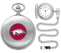 Arkansas Razorbacks Silver Plated Pocket Watch