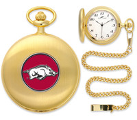 Arkansas Razorbacks Gold Plated Pocket Watch