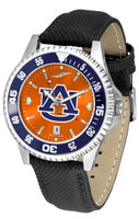 Auburn Tigers Competitor Crimson AnoChrome Leather Watch with Colored Bezel (Men's or Women's)