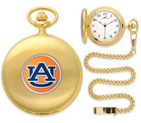 Auburn Tigers Gold Plated Pocket Watch