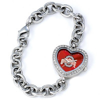 **Ohio State Buckeyes Ladies Heart Bracelet Watch - Red Dial