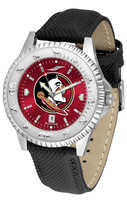 Florida State Seminoles Competitor Leather AnoChrome Leather Watch - Red Dial w/Colored Bezel (Men's or Women's)