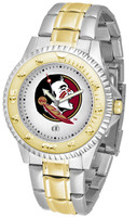 Florida State Seminoles Competitor 2-Tone 23k Gold Stainless Steel Watch - White Dial (Men's or Women's)