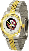Florida State Seminoles Executive  2-Tone 23k Gold Stainless Steel Watch - White Dial (Men's or Women's)
