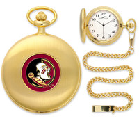 Florida State Seminoles Gold Pocket Watch w/Chain
