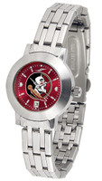 Florida State Seminoles Ladies Silver Stainless Steel Dynasty AnoChrome - Red Dial