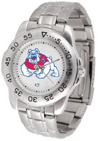 Fresno State Bulldogs Sport Stainless Steel Watch White Dial (Men's or Women's)