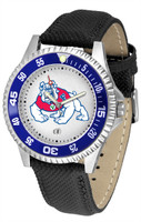 Fresno State Bulldogs Competitor Leather Watch White Dial (Men's or Women's)