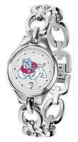 Fresno State Bulldogs Ladies Silver Eclipse Link Watch - White Dial