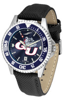 Gonzaga Bulldogs Competitor Leather AnoChrome Leather Watch - BlueDial w/Colored Bezel (Men's or Women's)