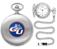 Gonzaga Bulldogs Silver Pocket Watch w/Chian