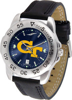 Georgia Tech Yellow Jackets Sport Leather AnoChrome Watch Red Dial (Men's or Women's)