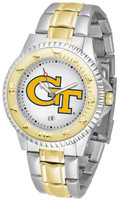 Georgia Tech Yellow Jackets Competitor 2-Tone 23k Gold Stainless Steel Watch - White Dial (Men's or Women's)