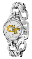 Georgia Tech Yellow Jackets Ladies Silver Eclipse Link Watch - White Dial