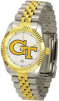 Georgia Tech Yellow Jackets Executive  2-Tone 23k Gold Stainless Steel Watch - White Dial (Men's or Women's)