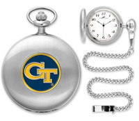 Georgia Tech Yellow Jackets Silver Pocket Watch w/Chian