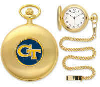 Georgia Tech Yellow Jackets Gold Pocket Watch w/Chain