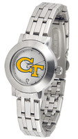 Georgia Tech Yellow Jackets Ladies Silver Stainless Steel Dynasty Watch - White Dial
