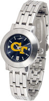Georgia Tech Yellow Jackets Ladies Silver Stainless Steel Dynasty AnoChrome - White Red Dial