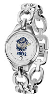 Georgetown Hoyas Ladies Silver Eclipse Link Watch - White Dial