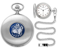 Georgetown Hoyas Silver Pocket Watch w/Chian