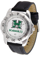 Hawaii Warriors Sport Leather Watch White Dial (Men's or Women's)