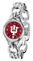 Indiana Hoosiers Ladies Silver Eclipse Link AnoChrome Watch - Red Dial