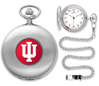 Indiana Hoosiers Silver Pocket Watch w/Chian