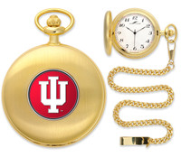 Indiana Hoosiers Gold Pocket Watch w/Chain