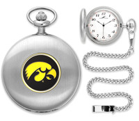 Iowa Hawkeyes Silver Pocket Watch w/Chian