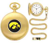 Iowa Hawkeyes Gold Pocket Watch w/Chain