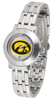 Iowa Hawkeyes Ladies Silver Stainless Steel Dynasty Watch - White Dial