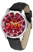 Iowa State Cyclones Competitor Leather AnoChrome Leather Watch - Red Dial w/Colored Bezel (Men's or Women's)