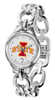 Iowa State Cyclones Ladies Silver Eclipse Link Watch - White Dial
