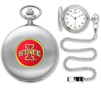 Iowa State Cyclones Silver Pocket Watch w/Chian