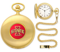 Iowa State Cyclones Gold Pocket Watch w/Chain