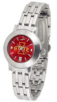 Iowa State Cyclones Ladies Silver Stainless Steel Dynasty AnoChrome - White Red Dial