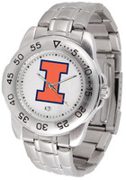 Illinois Fighting Illini  Sport Stainless Steel Watch White Dial (Men's or Women's)