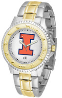 Illinois Fighting Illini  Competitor 2-Tone 23k Gold Stainless Steel Watch - White Dial (Men's or Women's)