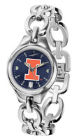 Illinois Fighting Illini  Ladies Silver Eclipse Link AnoChrome Watch - Red Dial