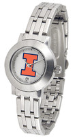 Illinois Fighting Illini  Ladies Silver Stainless Steel Dynasty Watch - White Dial