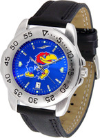 Kansas Jayhawks  Sport Leather AnoChrome Watch Color Dial (Men's or Women's)