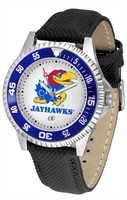 Kansas Jayhawks  Competitor Leather Watch White Dial (Men's or Women's)
