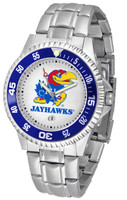 Kansas Jayhawks  Competitor Stainless Steel Watch - White Dial (Men's or Women's)
