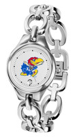 Kansas Jayhawks  Ladies Silver Eclipse Link Watch - White Dial