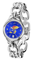 Kansas Jayhawks  Ladies Silver Eclipse Link AnoChrome Watch - Color Dial