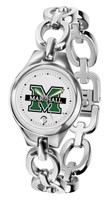 Marshall Thundering Herd  Ladies Silver Eclipse Link Watch - White Dial